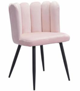 Black metal legs blush pink velvet dining chair