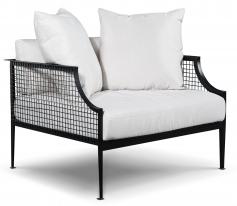 Black metal mesh single sofa with cushion and pillows