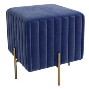 Golden metal legs blue velvet square ottoman