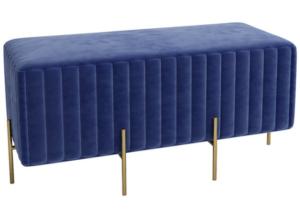 Golden metal legs blue velvet rectangle ottoman