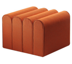 Orange velvet pouf seat ottoman stool