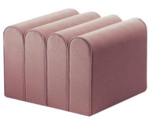 Blush pink velvet pouf seat ottoman stool