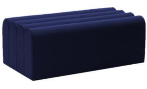 Navy blue velvet rectange pouf seat ottoman stool