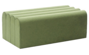 Green velvet pouf seat rectange ottoman stool