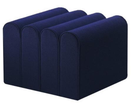 Navy blue velvet pouf seat ottoman stool