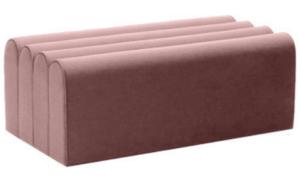 Blush pink velvet rectange pouf seat ottoman stool