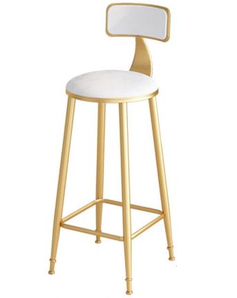 Golden painting metal legs white velvet bar chair