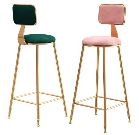 Golden painting metal legs blush pink velvet bar chair
