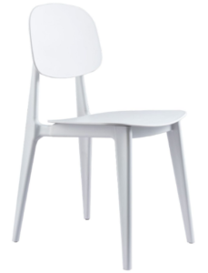 White stackable plastic dining chair for wholesale