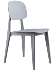 Gray stackable plastic dining chair