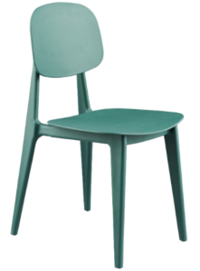 Green stackable plastic dining chair