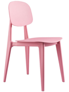 Pink stackable plastic dining chair