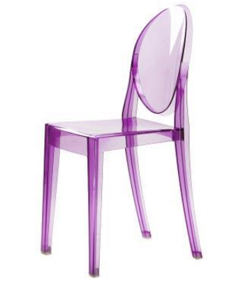 Transparent Purple Acrylic Stackable Ghost Chair