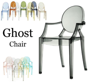 Transparent Gray Acrylic Stackable Ghost armchair