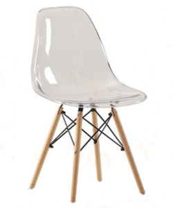 Acrylic Eiffel-Style Chair With Wooden legs