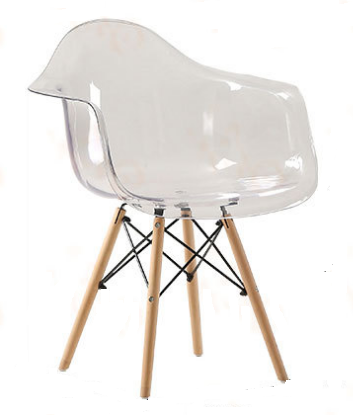 Allure Series Clear Transparent Side Chair with Wooden legs