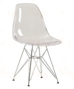 Acrylic Eiffel-Style Chair With Metal Base