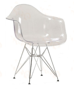 Allure Series Clear Transparent Side Chair with Metal Base