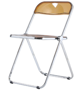 Transparent Clear Acrylic Folding Chair with silver metal legs