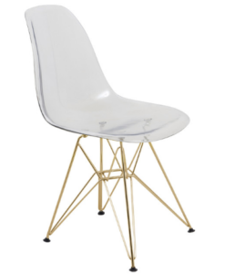 Modern Eiffel Acrylic Chair With Gold Metal Base