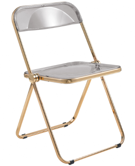Clear Acrylic Folding Chair with gold metal legs