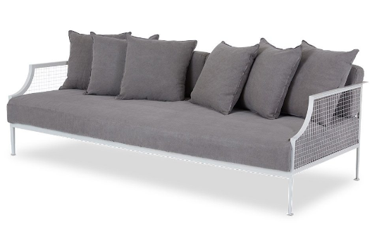White metal mesh 3 seater sofa with gray fabric cushion and pillows
