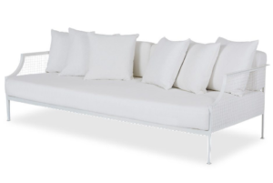 White metal mesh 3 seater sofa with white fabric cushion and pillows