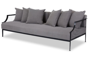 Black metal mesh 3 seater sofa with gray fabric cushion and pillows