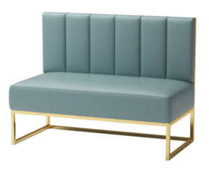 Golden base green PU leather booth seating sofa