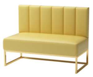 Gold plated base yellow PU leather booth seating sofa