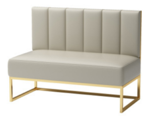 Gold plated base gray PU leather booth seating sofa