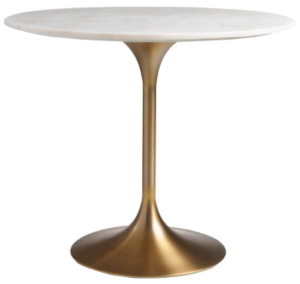 Marble top brush gold stainless steel base dining table
