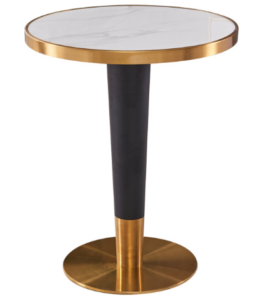 White marble top brush gold stainless steel base dining table
