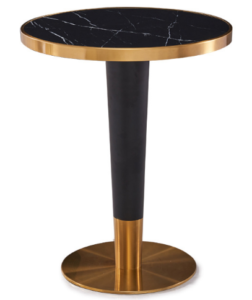 Black marble top brush gold stainless steel base dining table