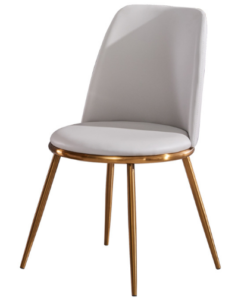 Brush gold stainless steel legs PU leather dining chair