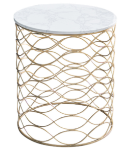 Gold plated metal base marble top side table