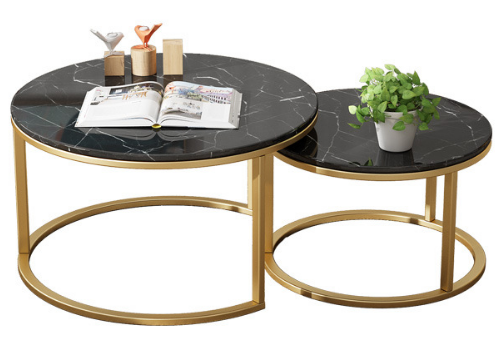 Black marble top golden base coffee table set