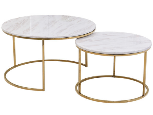 White marble top golden base coffee table set