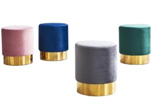 Gold base velvet round ottoman stool