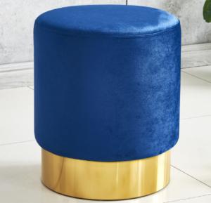 Navy blue velvet gold base round ottoman stool