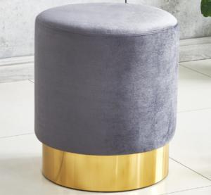 Gray velvet gold base round ottoman stool