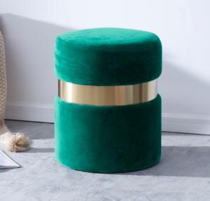 Green Velvet round ottoman stool