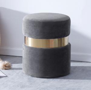 Gray Velvet round ottoman stool