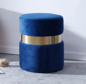 Navy blue Velvet round ottoman stool