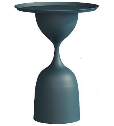 Blue powder coated metal round side table