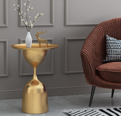 Golden powder coated metal round side table