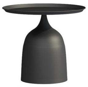 Black powder coated metal round coffee table