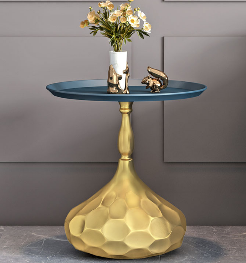 Blue top gold base metal round side table