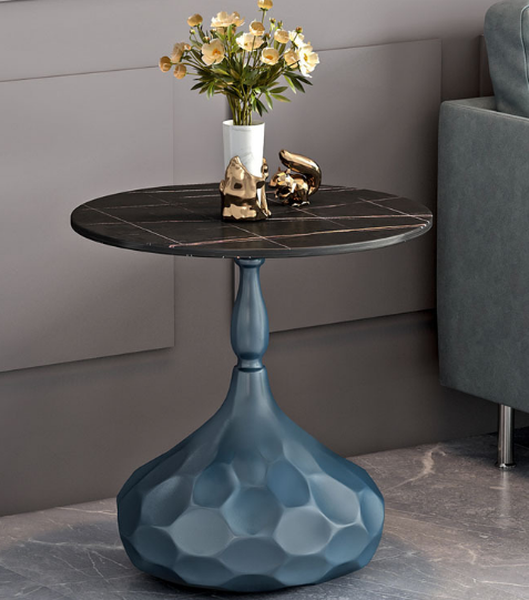 Black top Slate gold base metal round side table