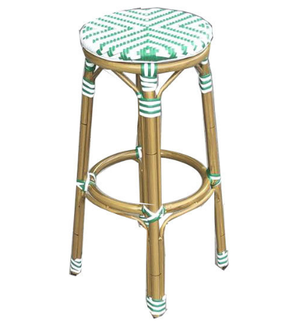 White and green rattan bamboo look bar stool